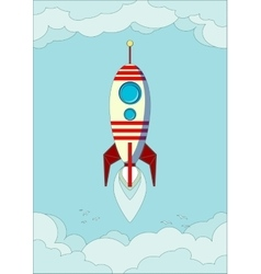 Space rocket flying in sky vector