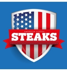 Steaks vintage shield with USA flag vector image