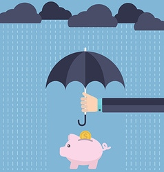 Umbrella protecting savings vector image