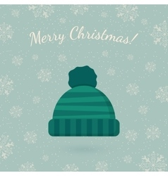 Winter hat on winter backdrop vector