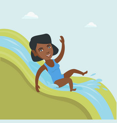 Young african woman riding down a waterslide vector