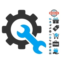 Service tools icon with free bonus vector