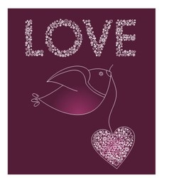 Abstract bird with a pink heart vector