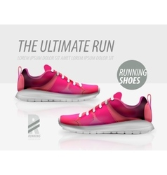 Running shoes ad product template vector