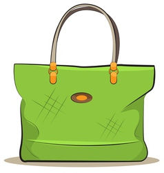 Women green canvas bag vector