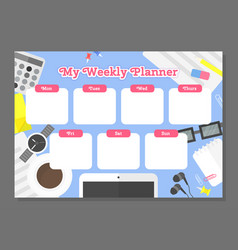 Weekly planner template vector