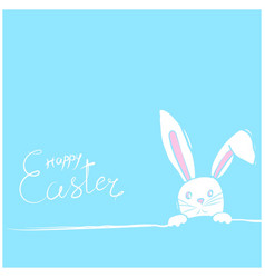 Easter rabbits card in blue vector