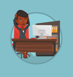 Business woman feeling stress from work vector