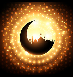 Mosque shape background in golden sparkle vector