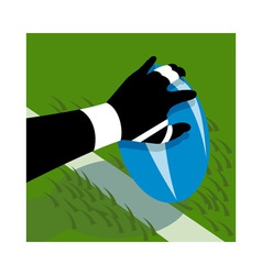 Rugby player hand scoring a try on line vector