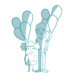 Silhouette man with his daughter and balloons vector