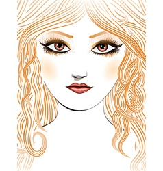Beauty girl face with yellow hair vector