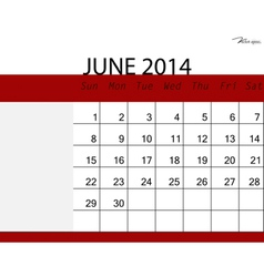 Simple 2014 calendar june vector