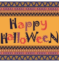 Happy halloween card with african ornament design vector
