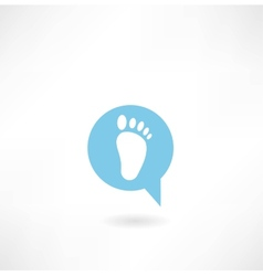 message with a human footprint icon vector image