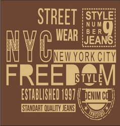 Freedom style typography t-shirt graphics vector