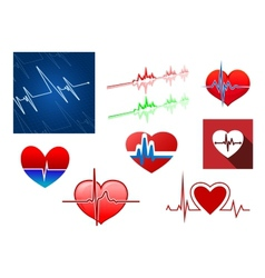 Hearts with beat frequency icons vector image