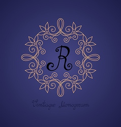 Vintage template with ornate monogram vector