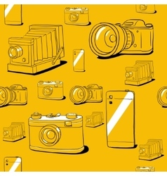 Seamless background with cameras vector