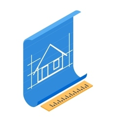 Architectural project icon isometric 3d style vector