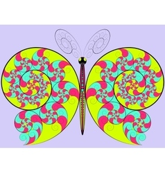 Color hypnotic butterfly vector image