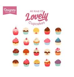 Lovely cupcake set vector
