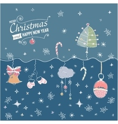Post card with hand drawn christmas doodle vector