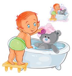 A baby bathes his teddy vector