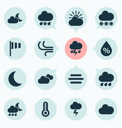 Air icons set collection of flag nightly cloudy vector