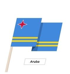 Aruba ribbon waving flag isolated on white vector