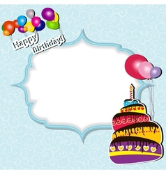 Birthday card with cake and balloons vector image vector image