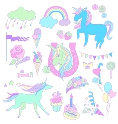 Blue unicorns with ice cream a piece of cake and vector image vector image