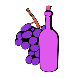 bottle of wine grape branch icon cartoon vector image