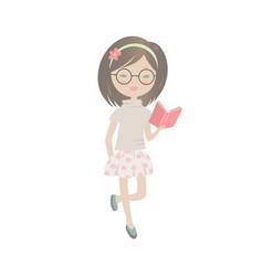 cute cartoon girl reading a book vector image