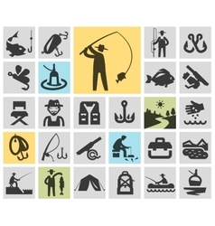 fishing set black icons signs and symbols vector image