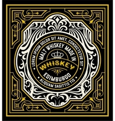 Floral Label for Whiskey packing or other products vector image vector image