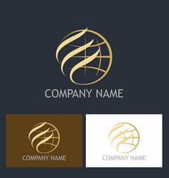 gold globe abstract company logo vector image