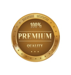 Golden badge premium quality vector image vector image