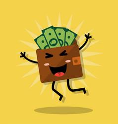 Happy wallet with money vector
