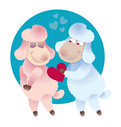 Lover ram gives his heart lamb vector