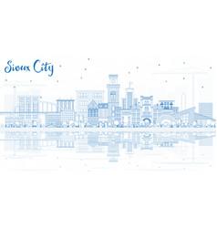 Outline sioux city iowa skyline with blue vector