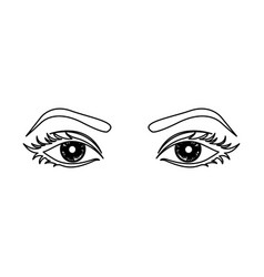 Outline woman with open eyes vector