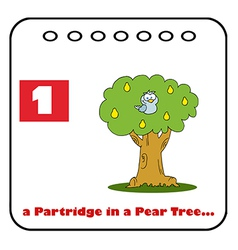 Patridge in a pear tree cartoon vector image