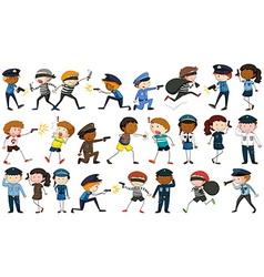 Policeman and criminal characters vector image