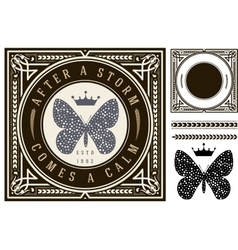Retro card with butterfly draw and elements vector image