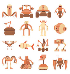Robot forms icons set cartoon style vector