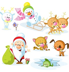 Santa Claus with snowman cute Christmas animals - vector image