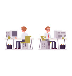 set of male clerk working at the computer vector image vector image