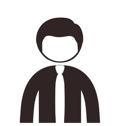 Silhouette half body man with shirt and tie vector