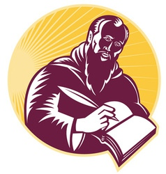 st jerome old male saint writing vector image